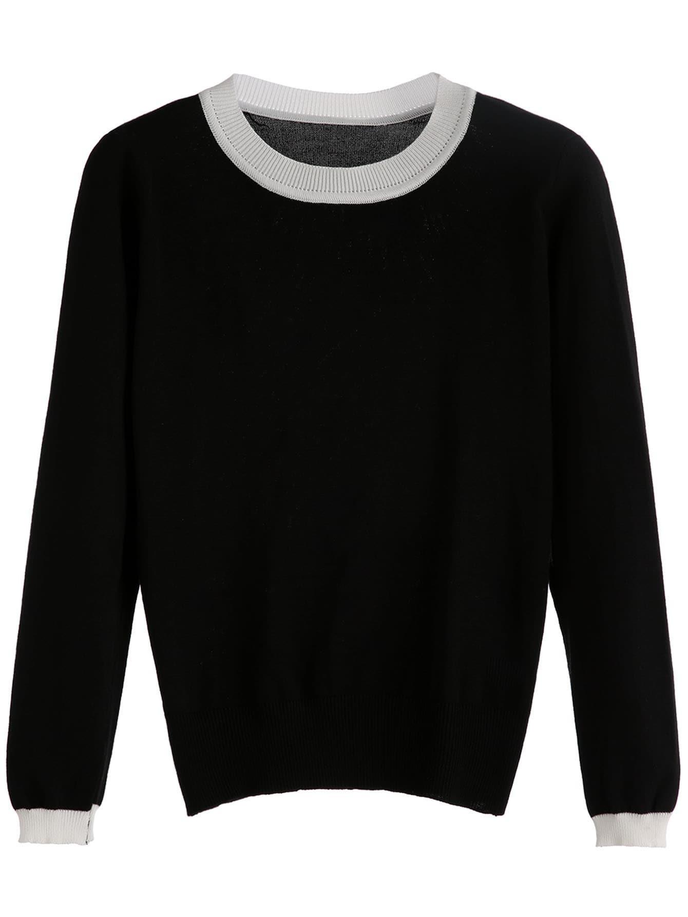 Black Contrast Trim Knitwear RKNI160907002