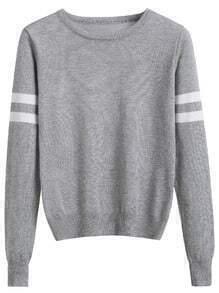 Jersey manga de rayas - gris
