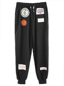 Black Embroidery Patches Drawstring Pants