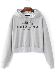 Grey Letter Embroidery Crop Hooded Sweatshirt