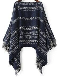 Jersey poncho de cuello barco con estampado tribual y flecos - azul marino