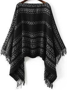 Jersey poncho de cuello barco con estampado tribual y flecos - negro