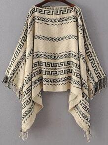 Jersey poncho de cuello barco con estampado tribual y flecos - kaki
