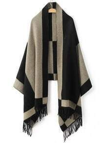 Black Color Block Fringe Scarf