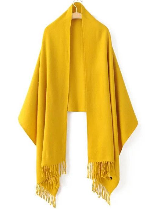Yellow Fringe Hem Plain Scarf