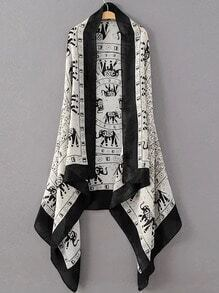 Black And White Elephant Print Scarf