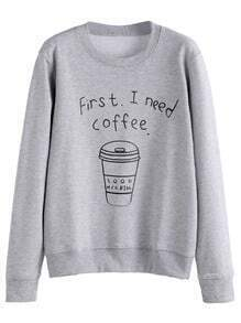Grey Coffee Cup Letters Print Sweatshirt