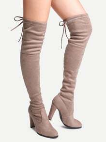 Apricot Faux Suede Point Toe Lace Up Over The Knee Boots