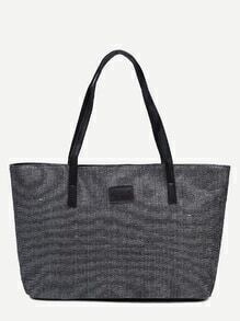 Black Zip Closure Linen Tote Bag