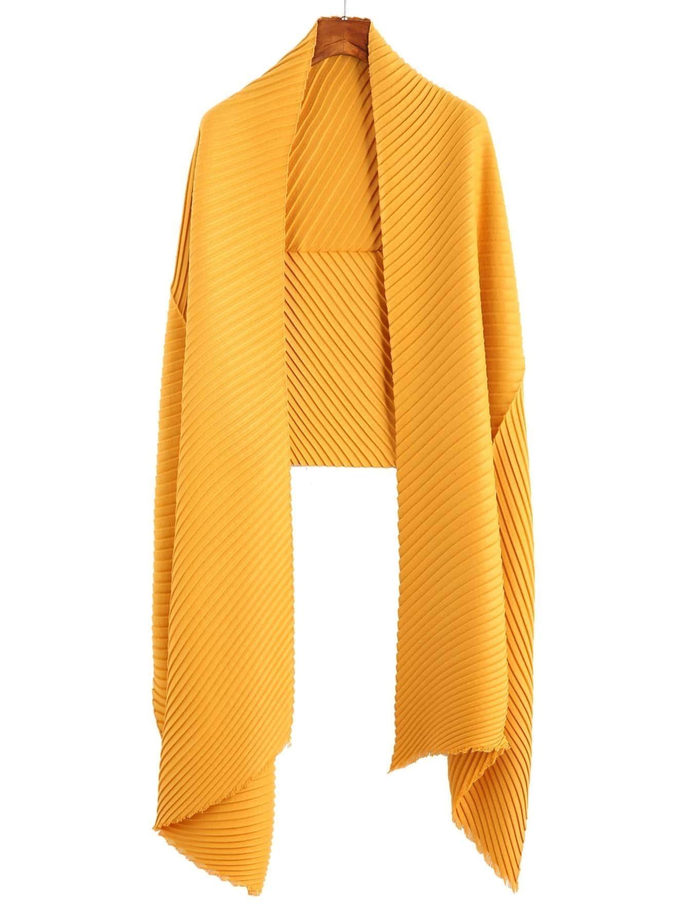 Yellow Ribbed Raw Edge Scarf scarf160907008