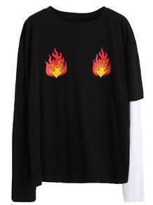 Camiseta estampada de fuego - negro