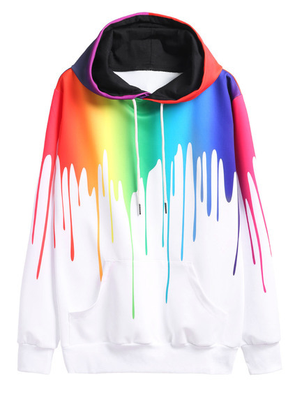Sweat-shirt imprimé avec capuche - multicolore
