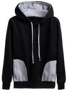 Kapuzensweatshirt mit Tunnelzug - schwarz