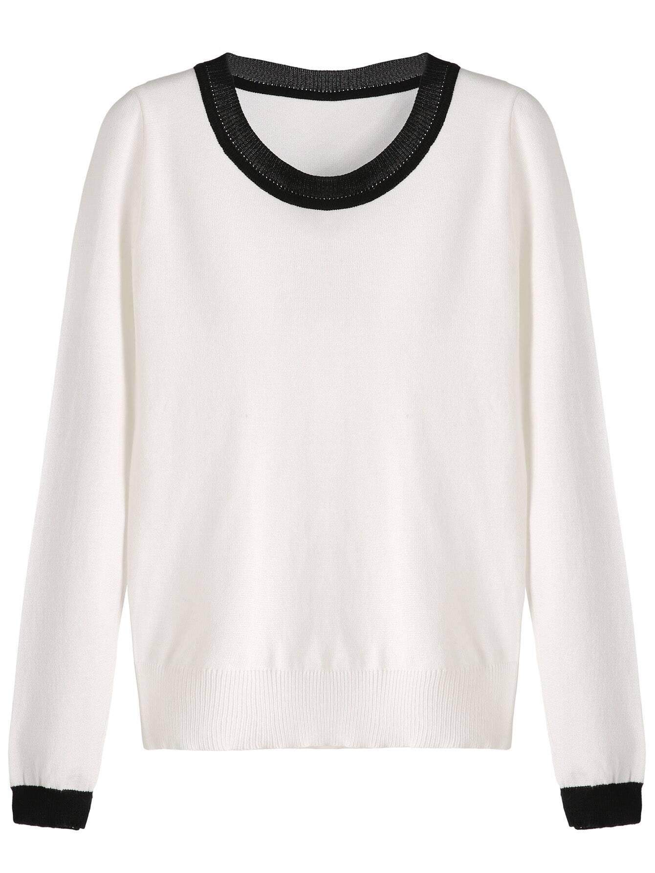 White Contrast Trim Knitwear