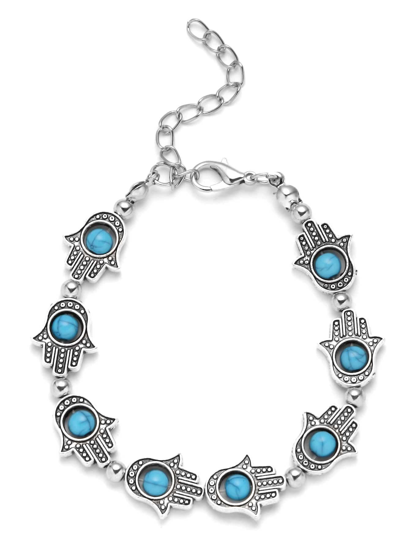 bracelet avec breloque en turquoise argente french romwe With robe fourreau combiné avec bracelet argent breloque