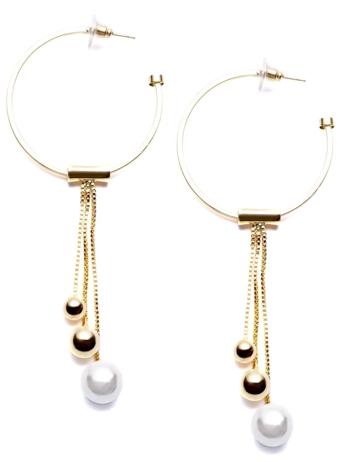 Gold Plated Circle Metal Ball Drop Earrings