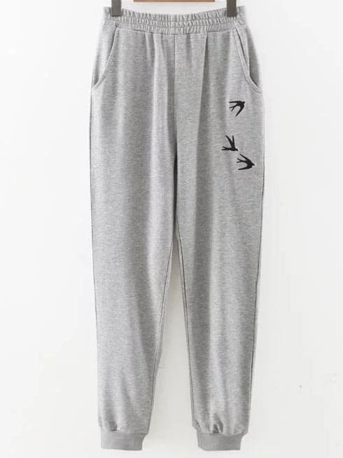 Grey Swallow Embroidery Ribbed Cuff Pants