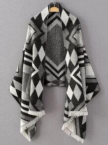 Echarpe motif géométrique avec frange - gris