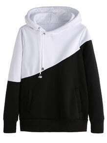 Sweat-shirt avec capuche et poche couleur bloc