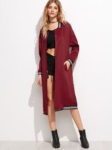 Burgundy Varsity Stripe Long Baseball Coat