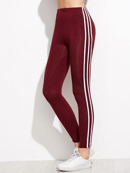 Burgundy Contrast Vertical Striped Side Leggings