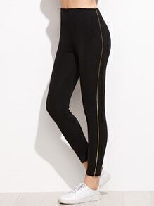 Leggings con rayas laterales - negro