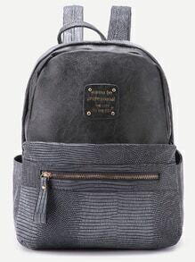 Grey Metallic Embellished PU Backpack