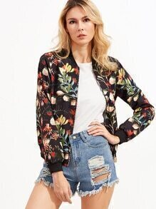 Jacke mit Taschem Reißverschluss Blumen Druck -schwarz