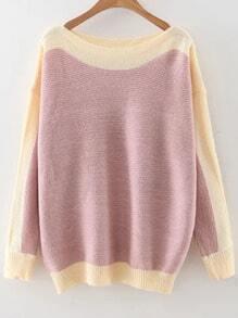 Jersey hombro caído con cuello barco de color combinado - rosa