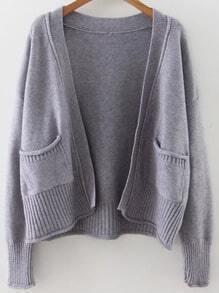 Veste tricoté à nervures avec poche - gris