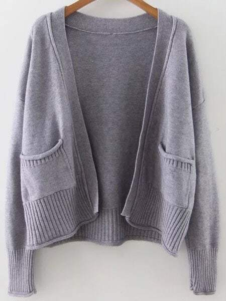 Grey Ribbed Trim Drop Shoulder Cardigan With Pockets