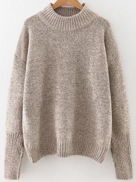 Khaki Crew Neck Ribbed Trim Drop Shoulder Sweater