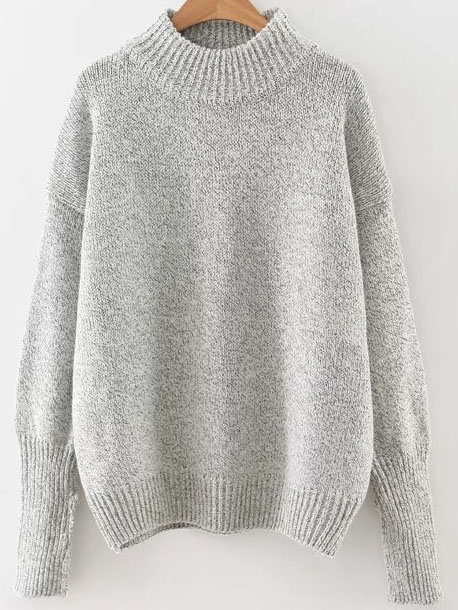 Grey Crew Neck Ribbed Trim Drop Shoulder Sweater