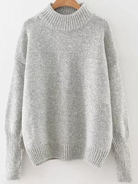 Grey Crew Neck Ribbed Trim Drop Shoulder Sweater