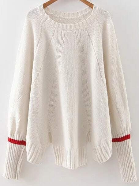 White Ribbed Trim Slit Raglan Sleeve Sweater sweater160909213