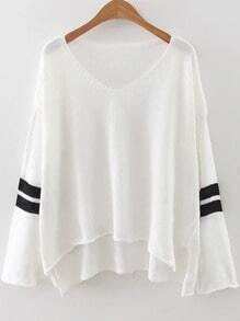 White Striped V Neck High Low Sweater