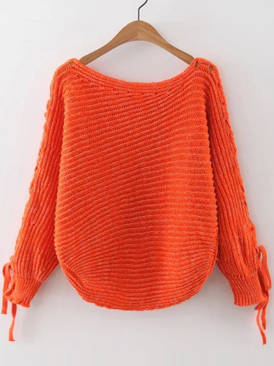 Orange Ribbed Lace Up Sleeve Loose Sweater
