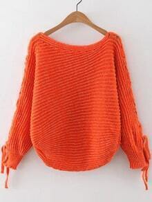 Jersey holgado acanalado con cordón en manga - naranja