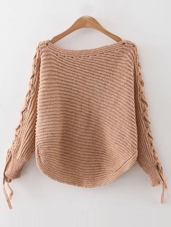Khaki Ribbed Lace Up Sleeve Loose Sweater