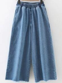 Blue Wide Leg Frayed Denim Pants