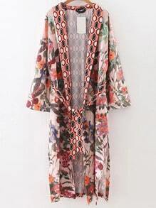 Multicolor Floral Print Self Tie Side Slit Long Kimono