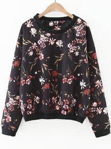 Sudadera manga raglán con estampado floral - negro