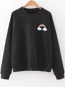 Sweat-shirt imprimé arc-en-ciel manche raglan - noir