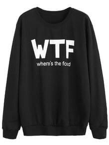 Black Letters Print Sweatshirt