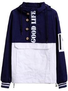 Navy Contrast Letters Print Pocket Hooded Sweatshirt