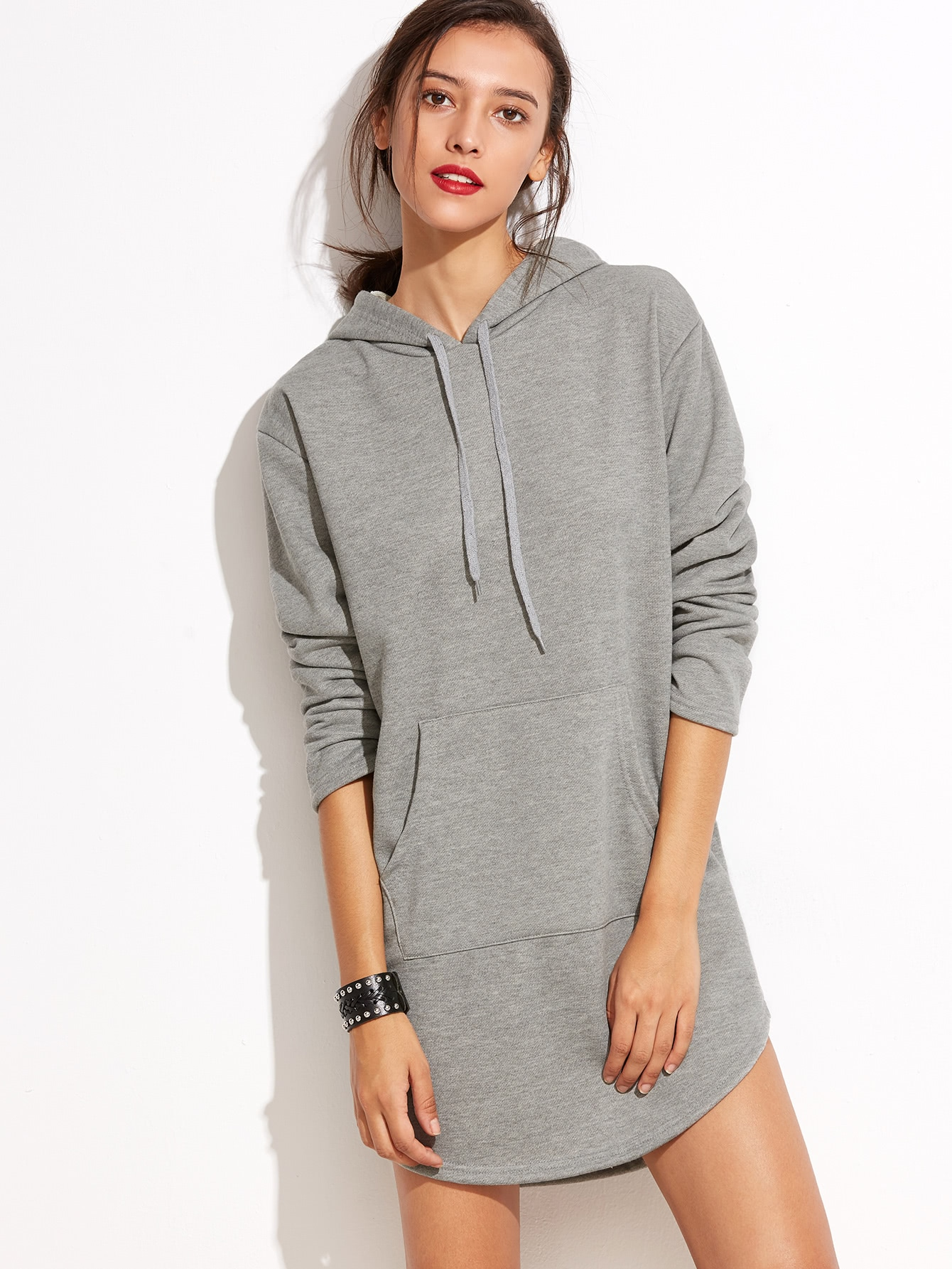 Grey Hooded Pocket Sweatshirt Dress
