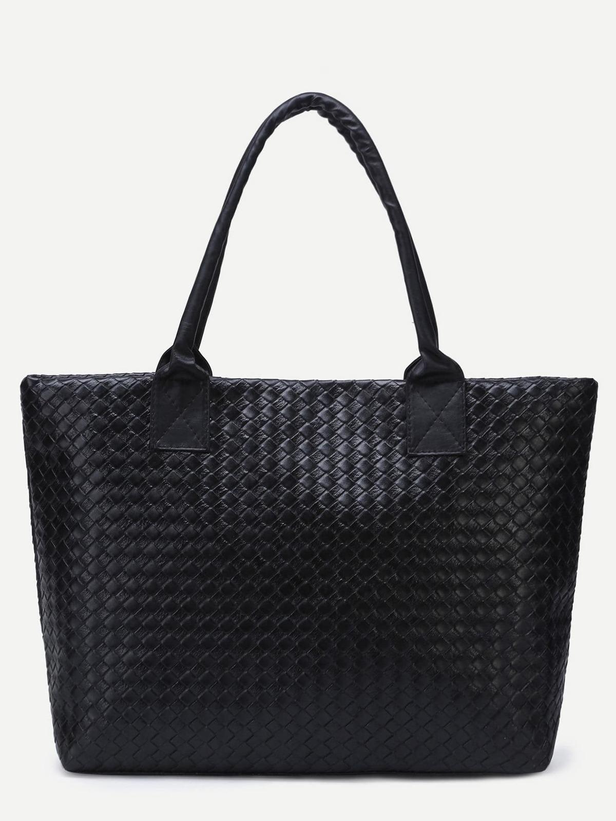 黑色 編織 PU 手提袋