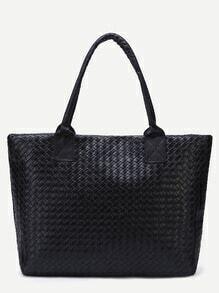 Black Woven PU Tote Bag