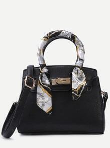 Black Pebbled PU Buckle Strap Handbag With Strap
