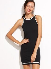 Black Contrast Trim Tank Dress